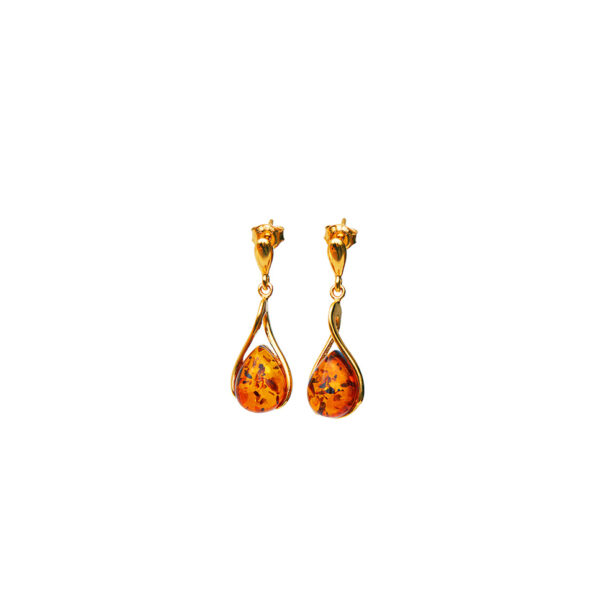 Gold-plated long stud earrings with cognac amber