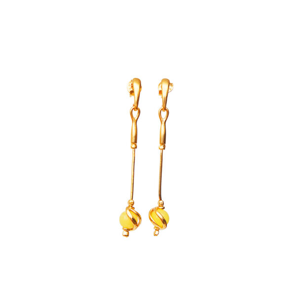 Gold-plated earrings with milky Baltic amber