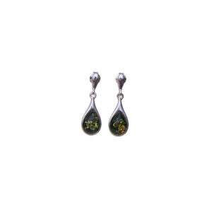 Silver stud earrings with green amber