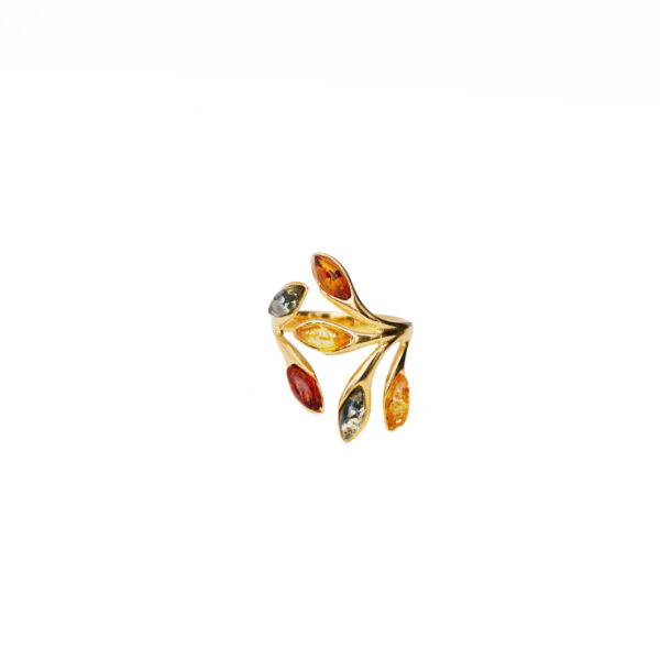 Gold plated ring with baltic amber