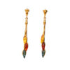 Gold-plated earrings with mixed Baltic amber