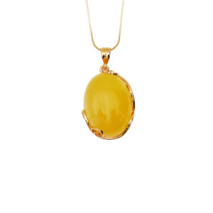 Gold-plated necklace with milky Baltic amber