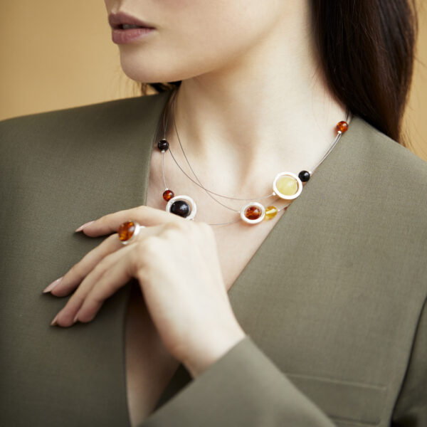 Silver necklace with Baltic amber