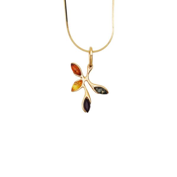 Gold-plated necklace with mixed Baltic amber