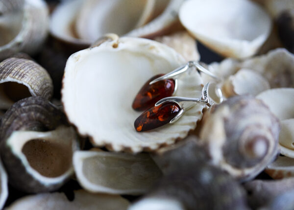 Silver earrings with cognac Baltic amber