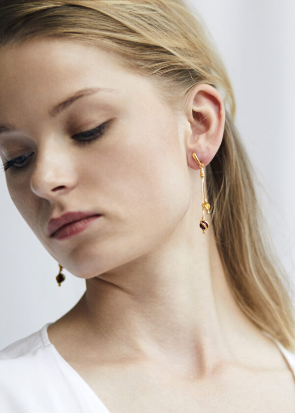 Gold-plated earrings with Baltic amber 5