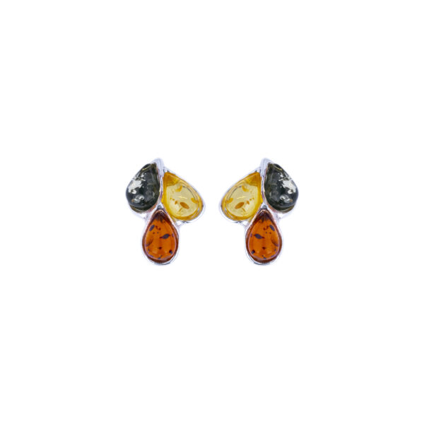 Silver stud earrings with mixed Baltic amber 3