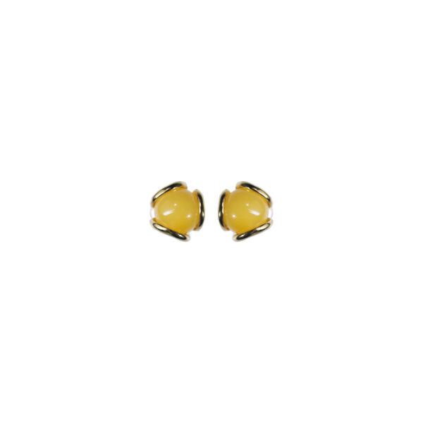 Gold-plated stud earrings with milky amber 6