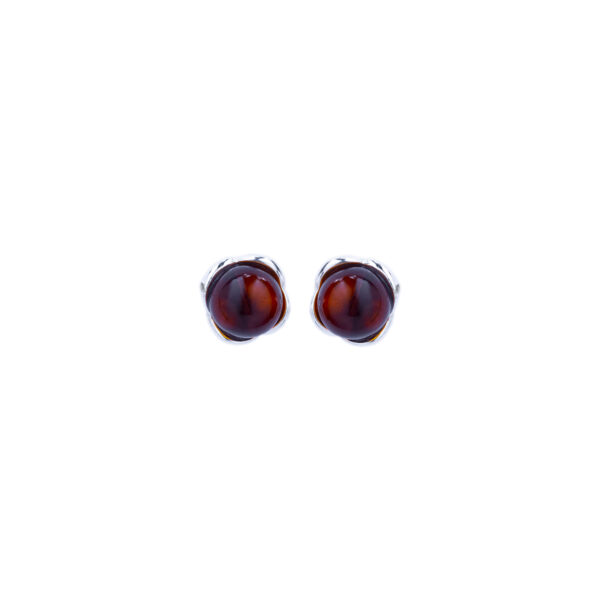 Silver stud earrings with cognac Baltic amber 4