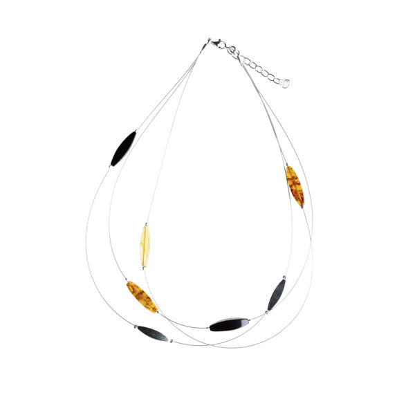 Mixed amber necklace with sterling silver