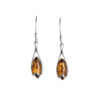 Sterling silver earrings with cognac genuine amber