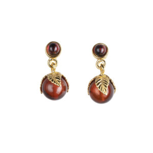 Long studs earrings with cognac baltic amber