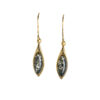 Green amber dangle earrings in gold color