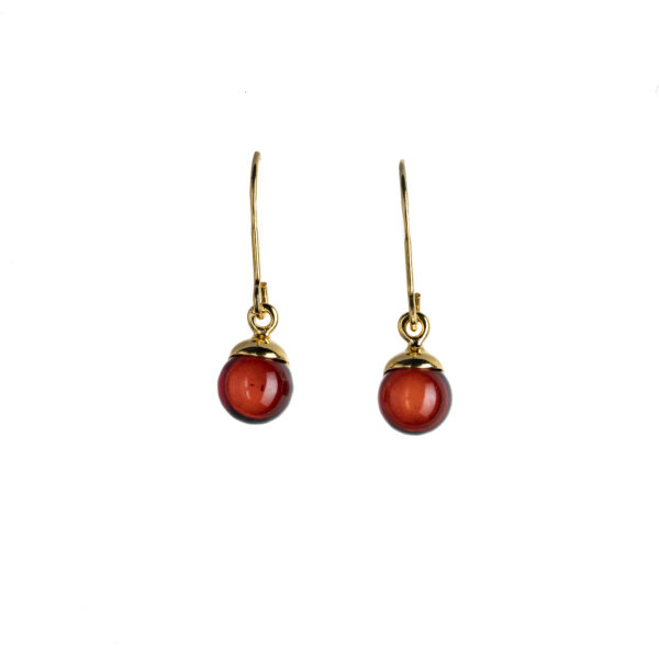 Classy earrings with cherry amber