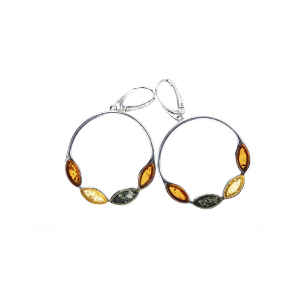 Sterling silver hanging earrings with multicolor amber
