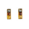 studs earrings in square shape with baltic amber