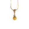 Gold plated necklace with milky amber