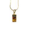 Necklace with square shape and three colors of amber