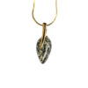 Gold plated necklace with green genuine amber