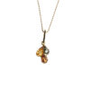 Gold plated necklace with green, yellow and cognac amber