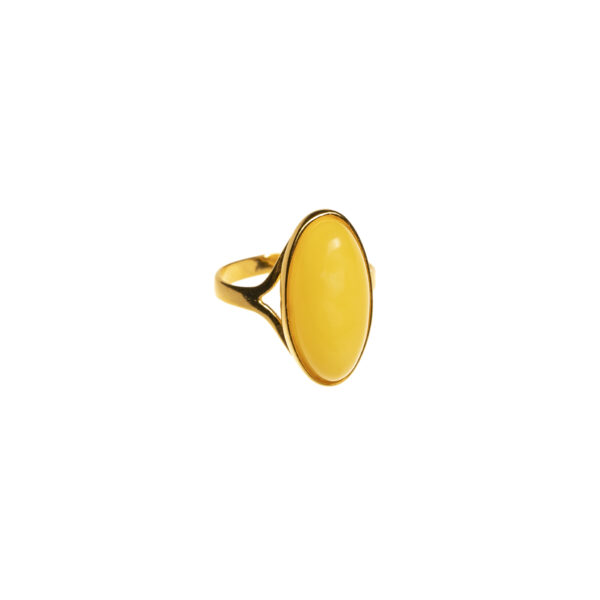 Gold plated ring with milky amber