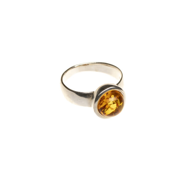 Modern sterling silver ring with cognac amber