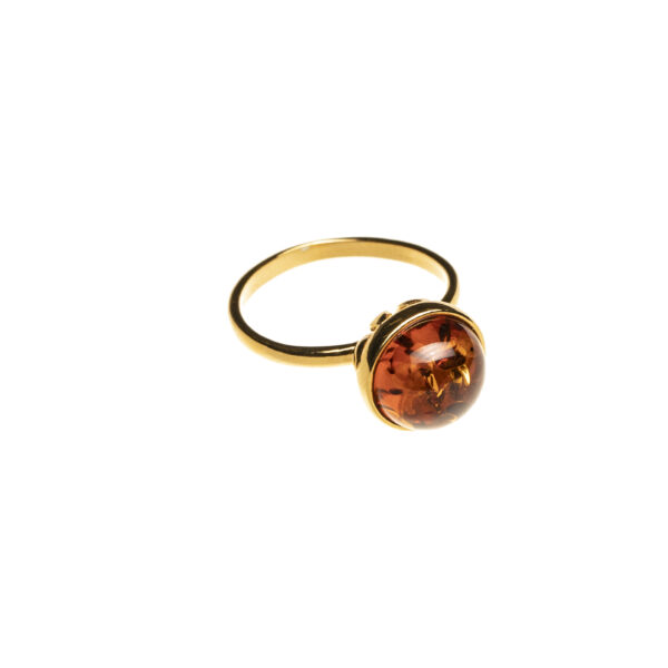Gold plated ring with cognac baltic amber