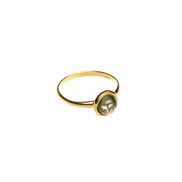 Gold plated ring with green genuine amber