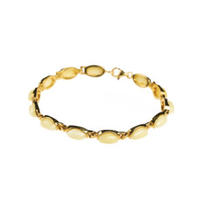 Gold plated bracelet with milky amber