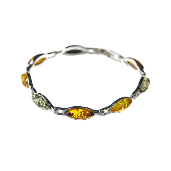Silver bracelet with mixed baltic amber