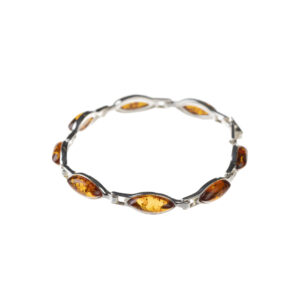 Silver bracelet with cognac baltic amber
