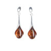 Long studs earrings with cognac amber in silver