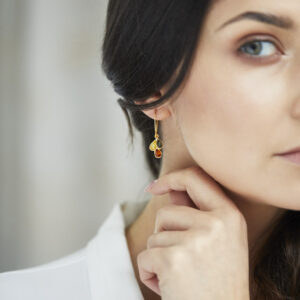 Gold plated dangle earrings with multicolor amber