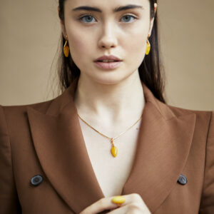 Gold plated milky amber pendant