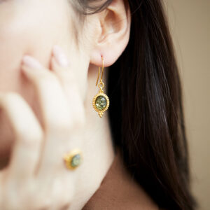 Gold plated sterling silver earrings with green amber