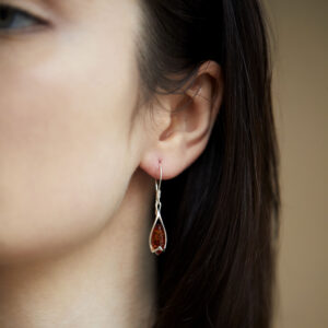 Sterling silver earrings with cognac amber