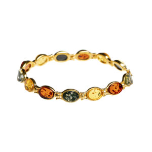 Gold plated bracelet with baltic amber