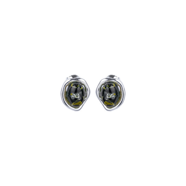 Silver stud earrings with green Baltic amber