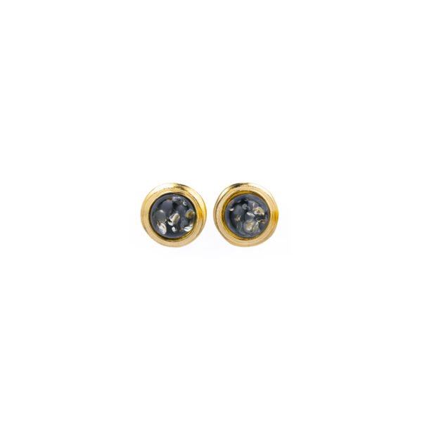 Gold-plated stud earrings with green amber