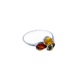 Silver ring with genuine Baltic amber